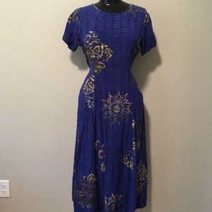 Blue Batik Sun Maxi Short sleeve cotton tie dress